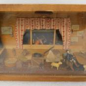 primitive Tramp Folk Art Diorama Box Equestrian Horse Stable
